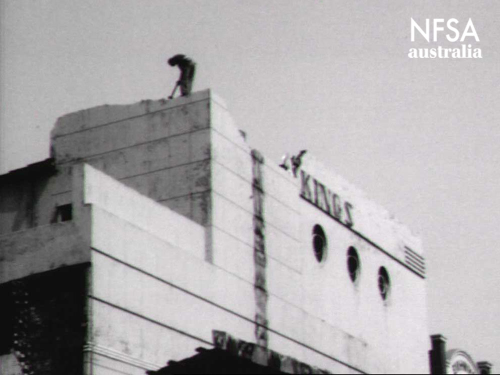 Still from film footage of the demolition of Marrickville Kings, 1971 (NFSA Title No: 393482)